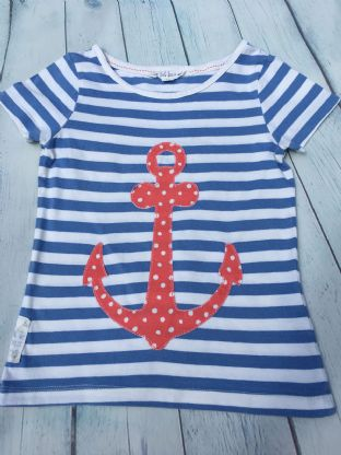 FatFace blue and white striped tshirt with applique anchor age 6-7